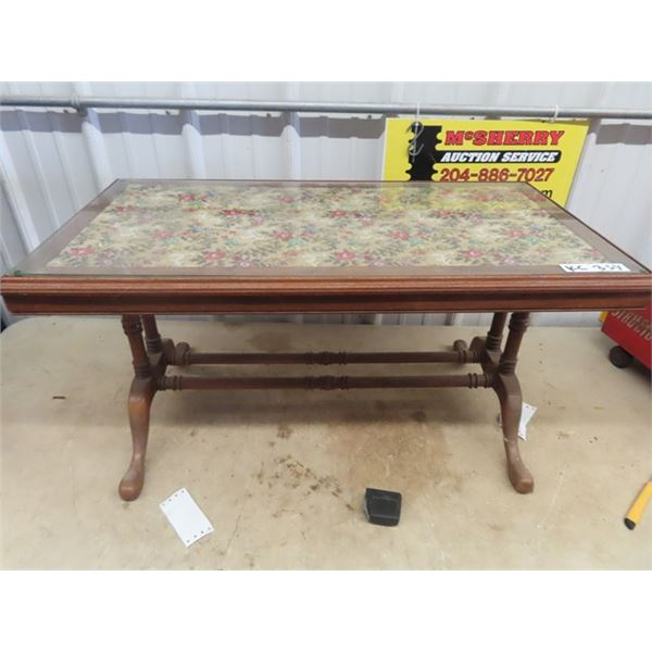 """Coffee Table w Tapestry Design Under Glass 17.5"""" X 34.5"""" x 18"""" D"""