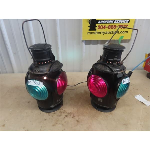 2 CNR Railwasy Switchman's Lanterns- Have Been Converted to Electrical - Hang Up & Enjoy!