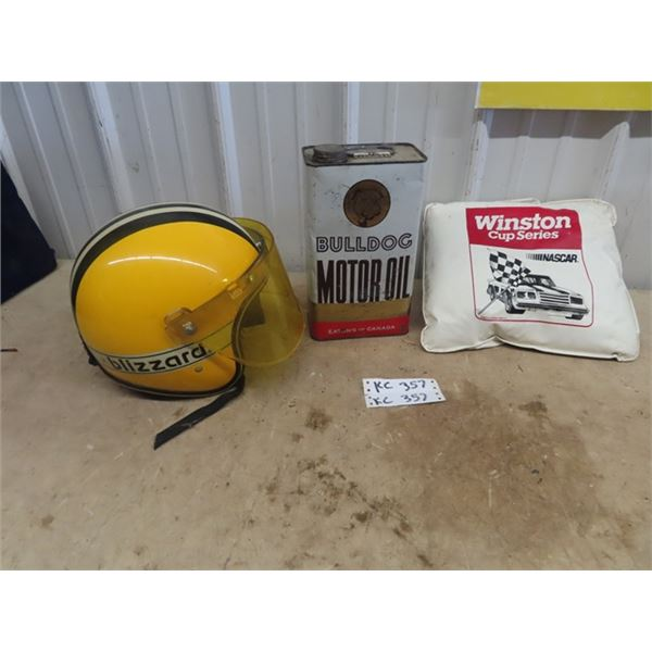 Ski Doo Blizzard Snowmobile Helmet, Bull Dog Motor Oil Tin - 1 Gal, Nascar Cushion