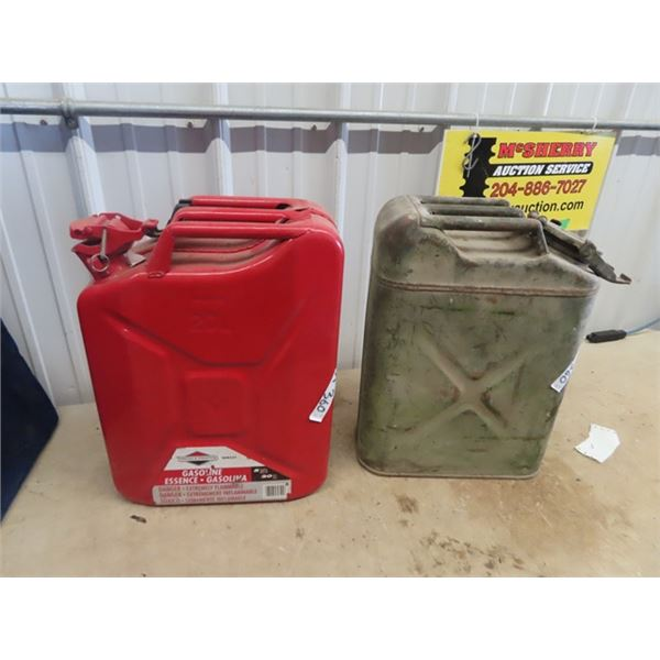 2 Metal Military Gas Cans