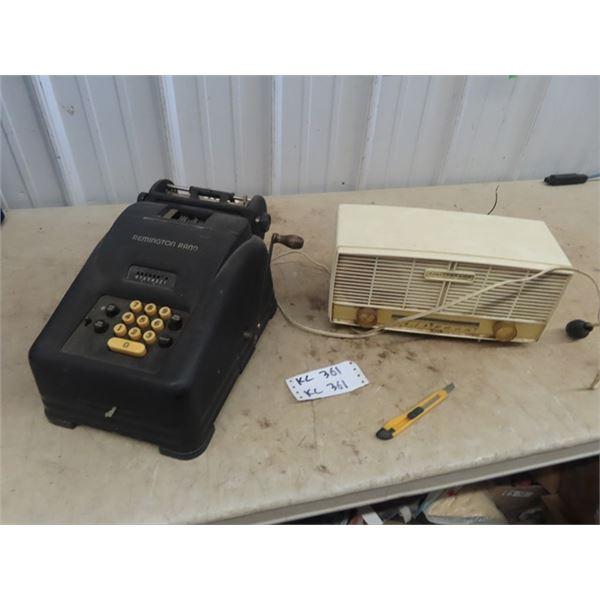 Remington Rand Adding Machine,  & Electrohome Radio