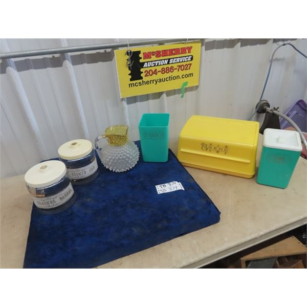 Retro Plastic Bread Box & Cannister, Cookie Jar & Pitcher