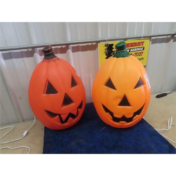 """2 Light Up Pumpkins 22"""" Tall"""