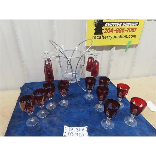 Fancy Ice Bucket, 9 Wine Glasses -Ruby Crystal
