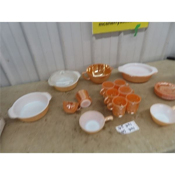 Approx 21 Pcs of Fire King Mixing Bowl, Cups, & Casserole Plus More!