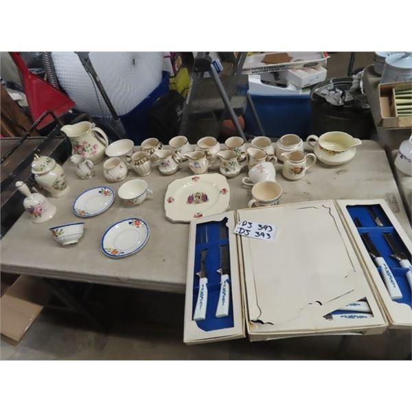 Carving Set, Royalty Plates, Cream & Sugar Plus