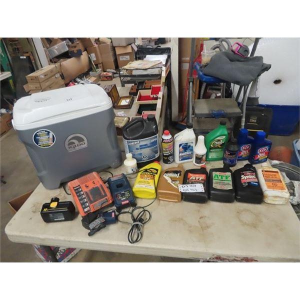 Igloo 12 Volt Cooler, Ridgid 18 V Charger, Ryobi CHarger, Oils & More