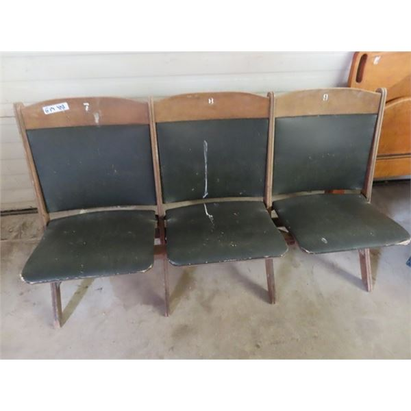 """Wooden Theatre Seats - Set of 3 - 60""""W"""