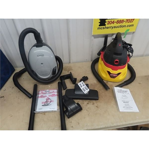 (MB) 2 Vacuums 1) Shark 1200 WATT 1) Stinger Wet/Dry 2.5 Gal 9.5 L