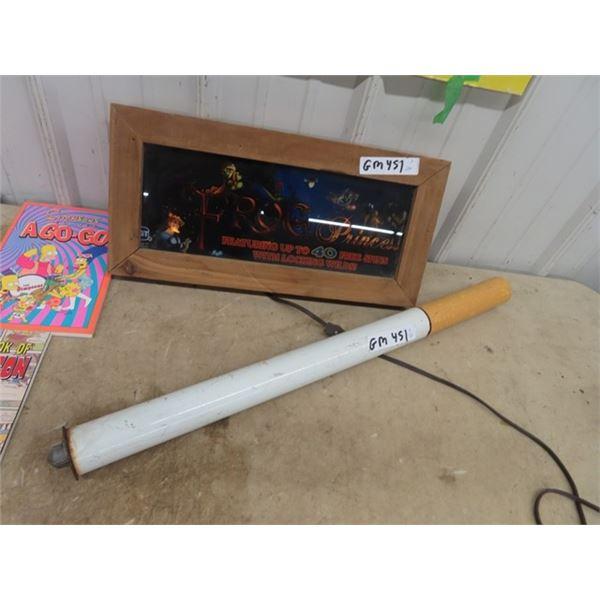 "Light Up SLot Machine Adv. - Frog Princess 19"" X 9.5"" & Metal Cigarette Display 28"" L & 2"" Rd"