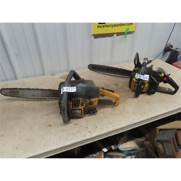 2 Chainsaws - NR 1) Poulan Pro 210 & 1) Power Mac 225-16