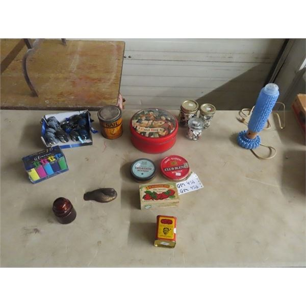 2 Boxes of Lights, Tobacco Tin, Sealer of Buttons, BR Lamp