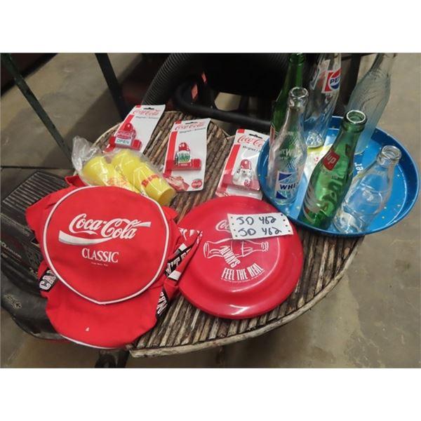Pop Bottles, Ballantine Metal Tray, Coca Cola Items & Carry On