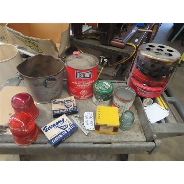Best Buy Antifreeze Tin , North Strar Tin , Coleman Heater, Light Glass, Carb Kits, 2 Firestone Fend