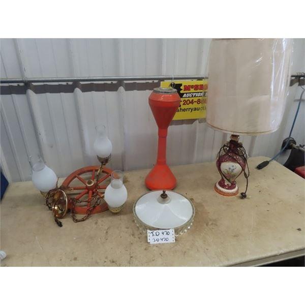 Wagon Wheel Light Fixture, Light Shade, Victorian Style Lamp, Retro Ashtray Stand