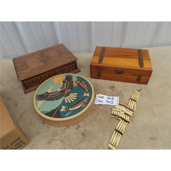 2 Jewellery Boxes, Drum & Necklace