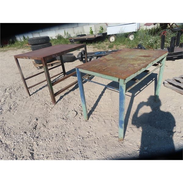 """2) Steel Shop Tables & Benches 1) 36"""" x 35"""" x 48"""" & 1) 33"""" x 47"""" x 28"""""""