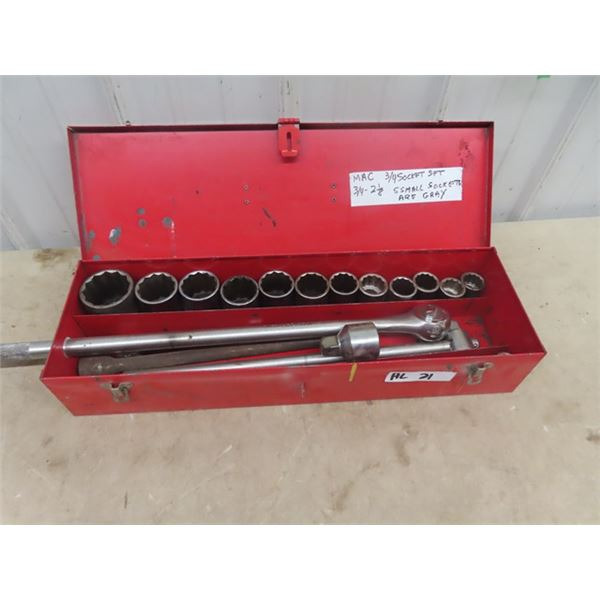 """MAC 3/4"""" Socket Set, Ratchet, Strong Bar, Ext, 3/4"""" to 2 1/8"""" All MAC except 5 Smaller sockets are """""""