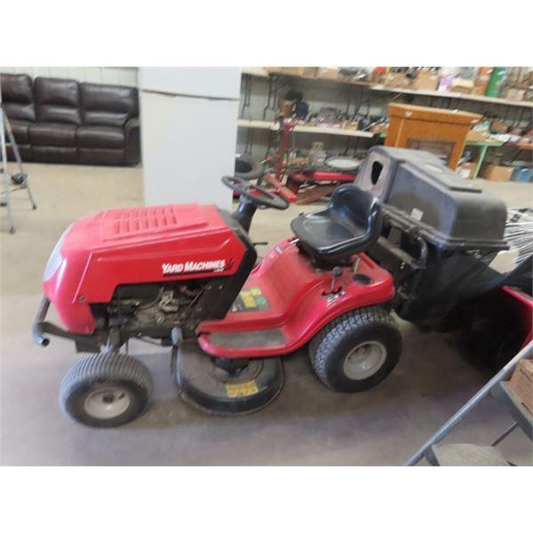 "MTD Yard Machine 15HP 38"" Cut Riding Lawn Mower Shift on The Go w Rear Bagger Attachment"