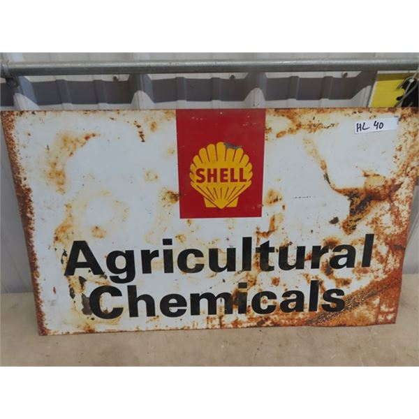 """Metal Shell Agriculture Chemicals Sign 34"""" x 20"""""""