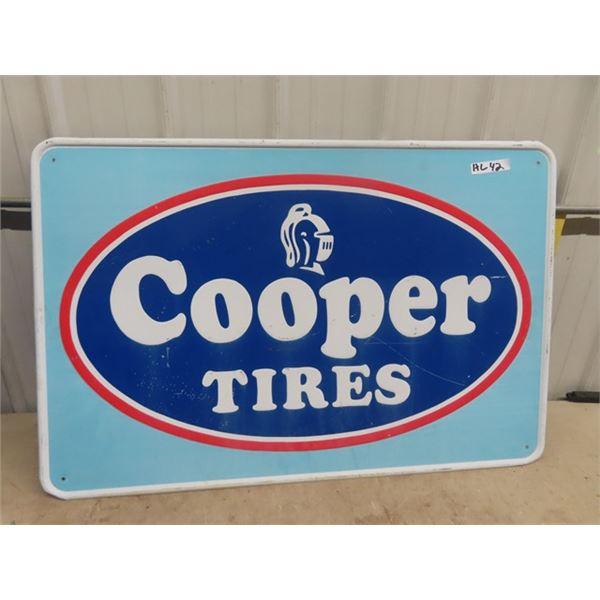 "Metal Embossed Cooper Tires Sign 30"" x 45"""