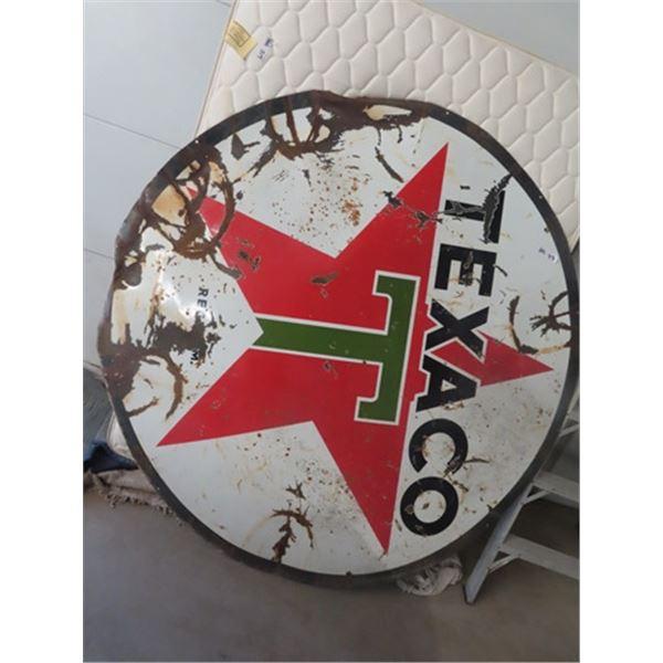 "Porce 2 Sided Texaco Sign 72"" Round"
