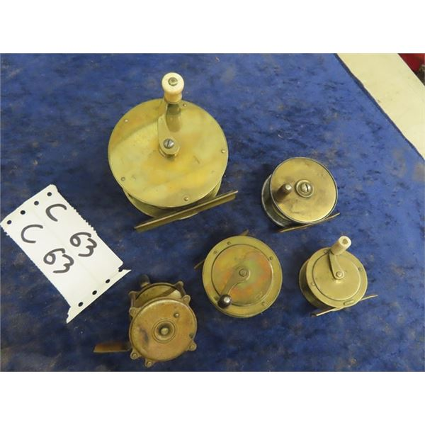 "5 Vintage Brass Reels - Biggest is 4"" RD & Smaller is 2 1/4"" RD"