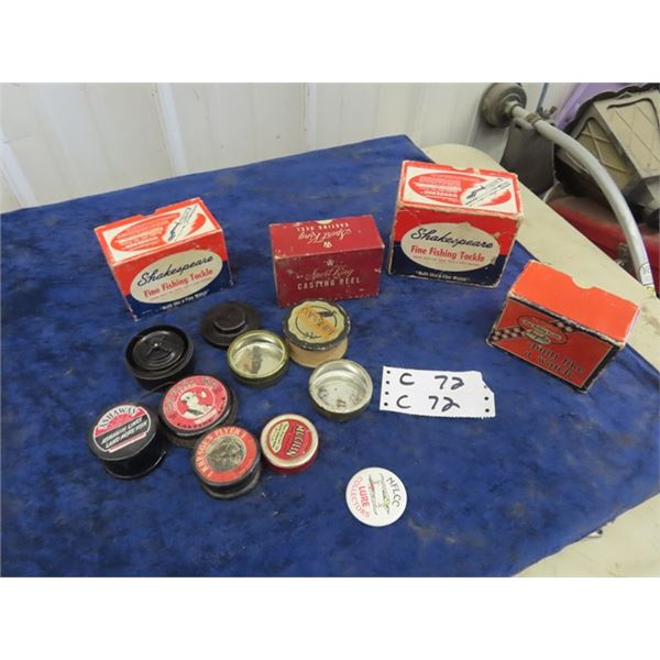 Vintage Fishing Reel Boxes, No Reels, Some Fly Fish Hooks & Container , Fishing Line