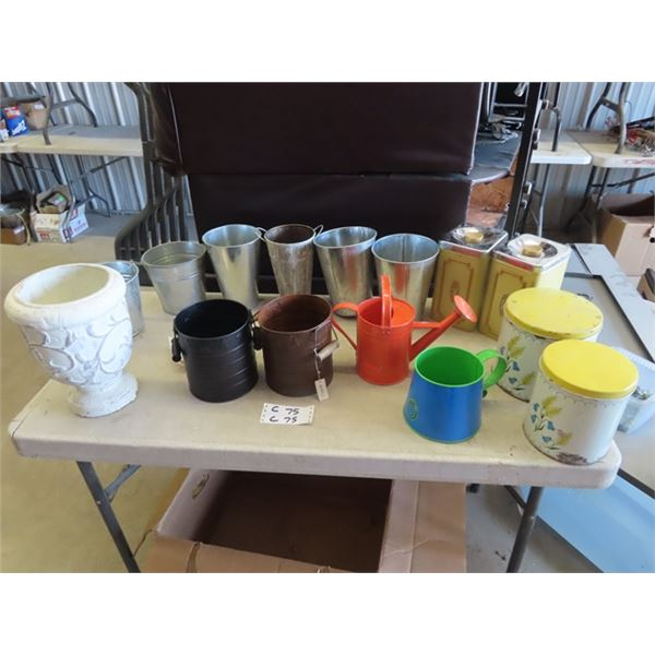 Metal Cannister , Watering Cans & Galv Planters