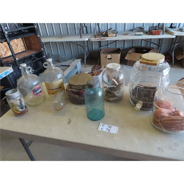 Store Cannisters, Jars, & Sealers , Bell, Colored Porc Lid