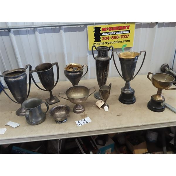 10 Old Trophies- Sports, School 1916 & Up