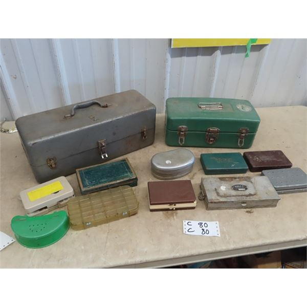 12 Fishing Tackle Boxes - 2 Full Size, & 10 Packets or Belt
