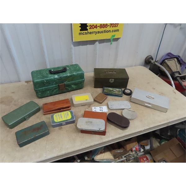 Plas Tak Bakelight Tackle Box , Pocket Ones, - Many w Hooks