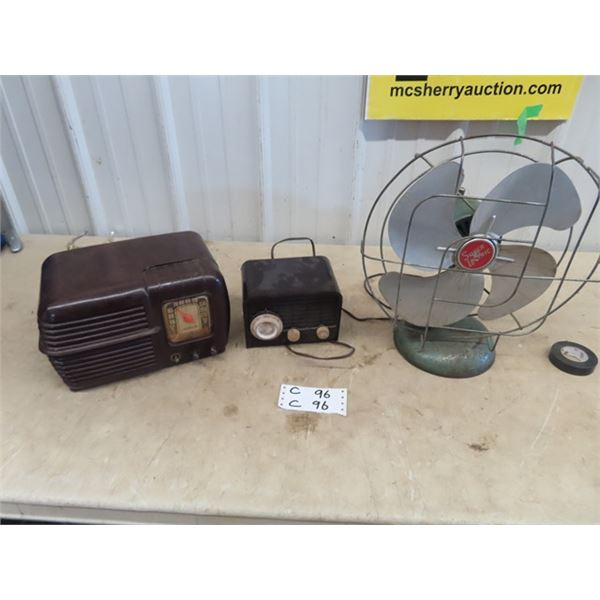 "Motorola Battery Saver Radio, Blonfer Tongue Radio, Super Letric Fan - No Cord, Fan is 12""RD"