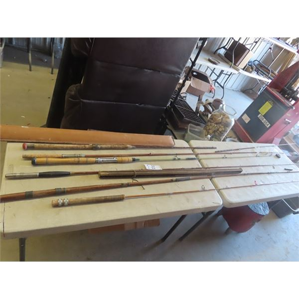 6 Old Rods - 5 Are Wood
