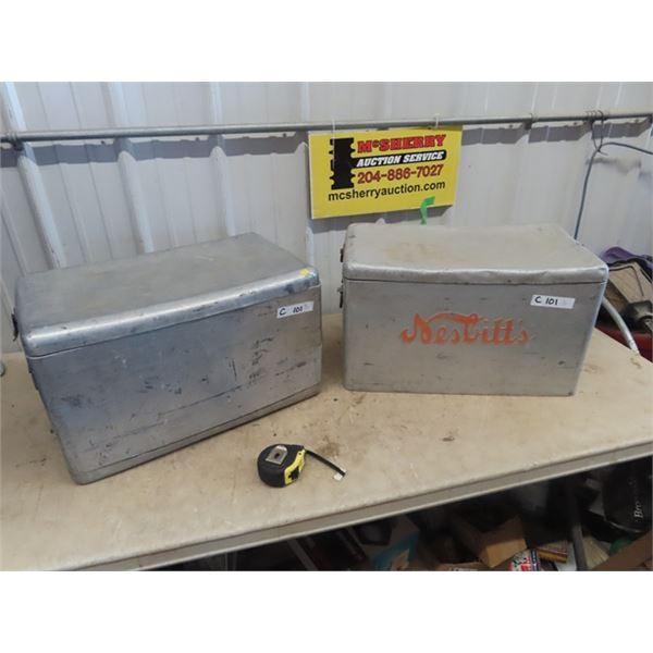 """2 Metal Picnic Cooler  1) Embossed Nesbitt Adv 12""""H 22""""W 13""""D"""
