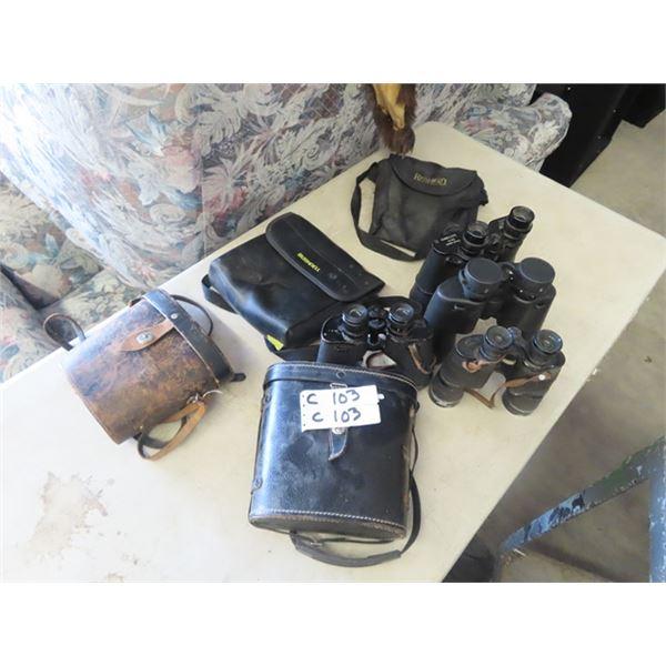 4 Sets of Binoculars & Cases- 7 x50 Sunscope 10 x50 Redhead, 7 x 35 Bausch & Lomb , & 12 x 40 Starup