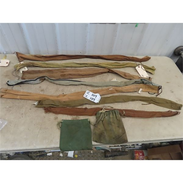 7 Old Canvas Fishing Rod Soft Cases & 2 Pouches
