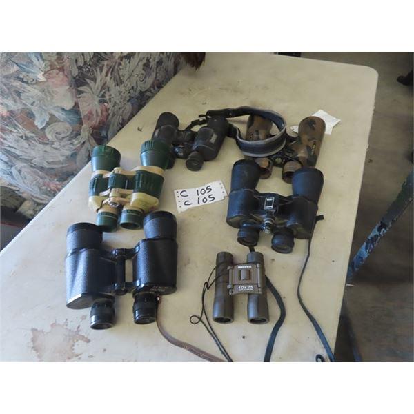 6 Sets of Binolculars- 2) are Bushnell 10x 50 Bushnell 10 x 42,  Russian 99990x 99990, Tasco 7x 50 &