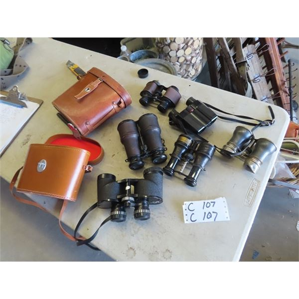 6 Sets of Binoculars- Markaman 7 x 35, Jockey Club , Pentex 8x 24, - 3 Have No Markings, 2 With Case