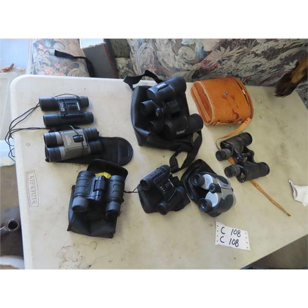7 Sets of Binoculars- Kurt Deutz 7 x 35, Bushnell 10 x 42, Bushnell 8 x 21, 2) Bushnell 10 x 25, Out