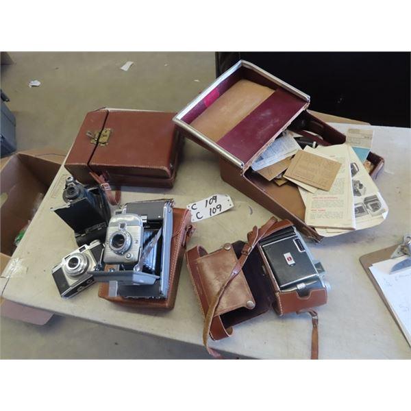 4 Cameras & Cases- 1) Polaroid Land Camera, Kodiak, Kodiak #2 Folding Cameras, AGFA Super SIlette