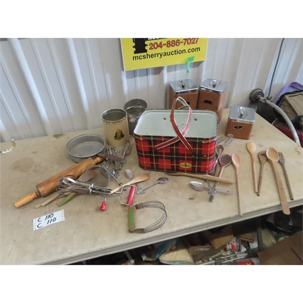 Cannisters, Vintage K Utensils, Rolling Pins, Wooden Spoons Plus