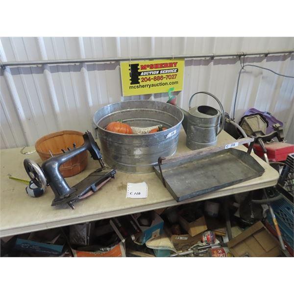 Galv Tubs , Watering Ca, Sewing Machine Head, Bushel Basket