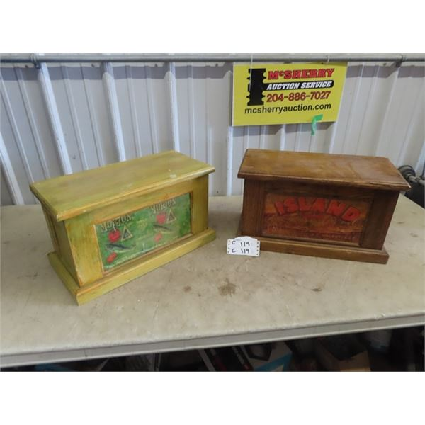 """2 Wood Chests w Advertising - Both are 11"""" x 19"""" x 9"""""""