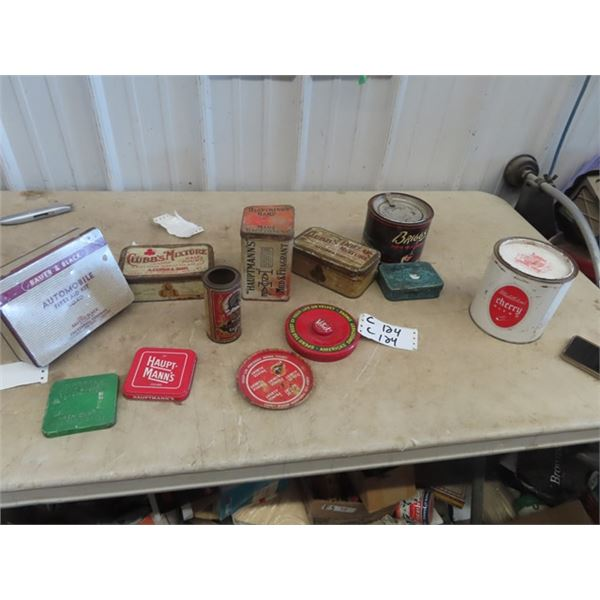 Tobaco Tins, Briggs Pipe Mixture, Middleton, Clubs Haupt-manns, Automobile 1st Aid Plus More!