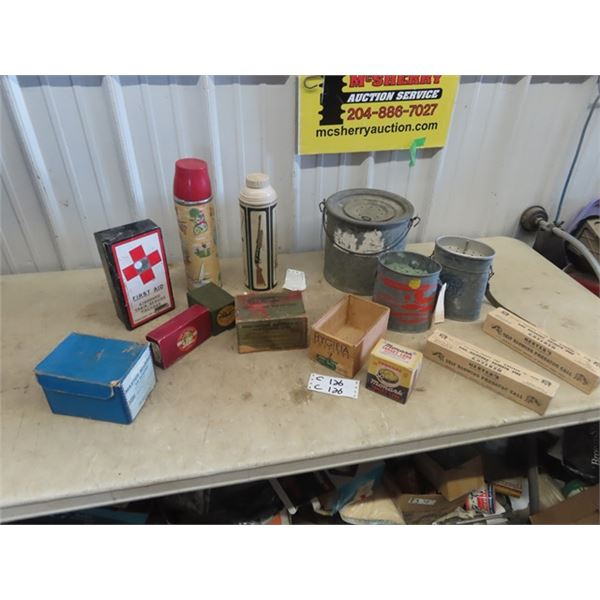 Fishing Reel Boxes, Thermos, Minnow Bucket, 1st Aid Kit