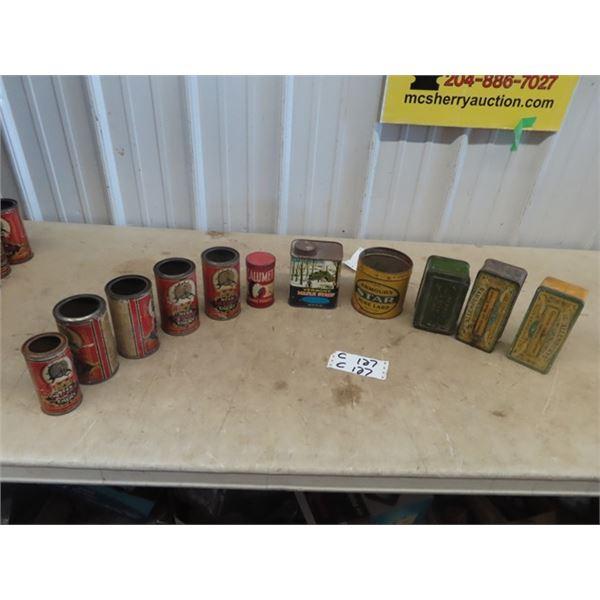 11 Tins - Nye's Paragon Flour, Vermont Maple Syrup, Star Lard, DIamond Boot Polish, Allenbury Black