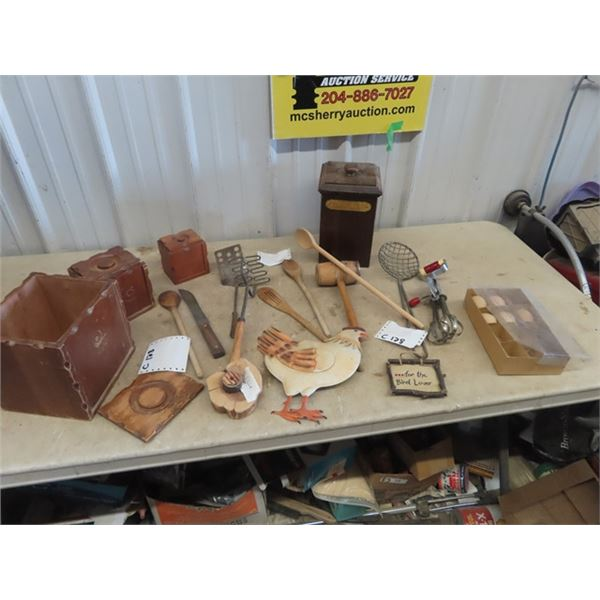 Wood Canisters, Wood Spoons, Kitchen Utensils, Metal Chicken Display