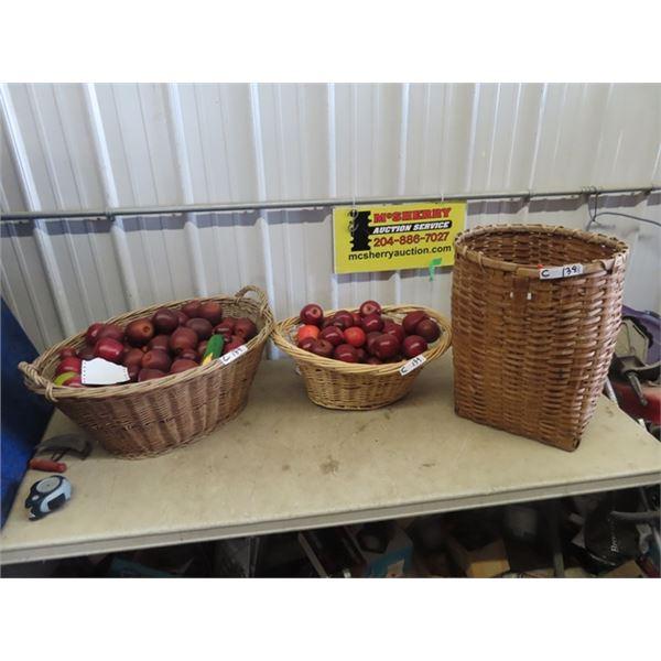 3 Woven Baskets, 2 Full of Imitation Fruit & Vegs